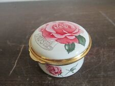 Toye Kenning & Spencer England Porcelain Miniature Enamel Trinket Box Rose June