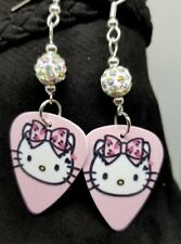 Pink Hello Kitty with Pink Bow Guitar Pick Earrings with White AB Pave Beads