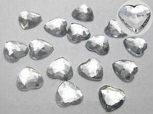 "200 Acrylic Faceted Heart Flatback Rhinestone Gems 10X10mm(3/8"") Color Choice"