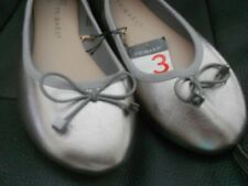 PRIMARK Dolly Ballerina Pumps Ballet Flats Gun Metal SilverSize UK 3 (36) BNWT