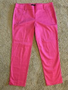 Looks New Womens Ann Taylor Sz 8 Fuschia Crop Zip Up Pants Hot Pink Lined