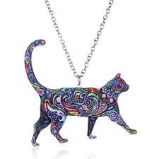 Fashion Handmade Printing Chain Animal Cat Pendant Necklace Jewelry Women Gift
