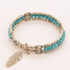 Vintage Tibetan Silver Feather Bangle Women Gypsy Turquoise Bohemian Bracelet