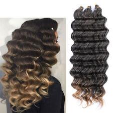 "22"" Crochet Bulk Hair Weft Deep Wave Synthetic Hair Extension Crochet Braids 80g"