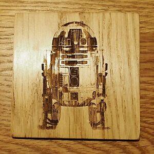Star Wars R2D2 Wooden Oak Coaster House Warming Birthday Gift Geek Chic