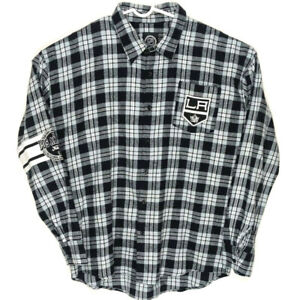 NHL Mens XL Black White Los Angeles Kings Plaid Button Flannel Shirt Embroiled