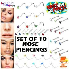 10 x Surgical Steel Nose Studs Set I L Screw Shape Silver Ball End Pack Piercing