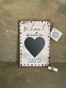 Heaven Sends 'School is out in' kids chalkboard hanging sign 18cm