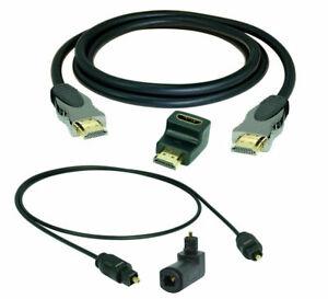 3m 4K High Speed HDMI Kabel + 3m TOSLINK Digital Kabel + 2x Winkel-Adapter