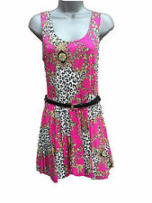 WOMENS LADIES SLEEVELESS FLORAL LEOPARD PRINT BELTED SHORT MINI SKATER DRESS TOP