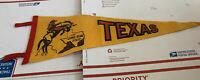 "Vintage Wool Felt Pennant Texas TX Lone Star State Bucking Bronco Banner 25.5"""