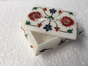 "4""x3""x2"" White Marble Jewellry Box Carnelian Floral Inlay Gift For Girls H3526"