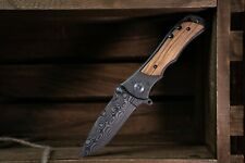 """8"""" Pocket Knife with Lock system Wood handle folding damascus etched Blade"""