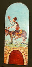 VINTAGE IMPRESSIONIST PORTRAIT OIL PAINTING MAN RIDE DONKEY