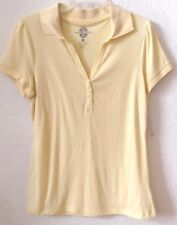 Womens Knit Shirt Yellow Collar MEDIUM Bandolinoblu 100% Cotton S/S New w/Tag
