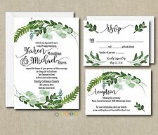 100 Personalized Botanical Watercolor Ferns, Leaves Wedding Invitation Suite