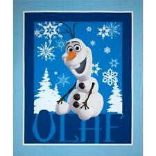 Disney FROZEN panel OLAF the snowman and snowflakes in Blue 100% cotton Fabric