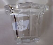 """Votive Candle Holder Etched Tulips """"Hope"""" Glass Clear"""