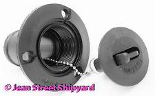 1-1/2 inch Boat Water Deck Fill Plate Black Marine Nylon Fiberglass Chained Cap