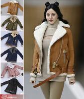 1/6 Women Lambskin jacket Clothes sherpa Coat Suit 12'' Figure Doll Accessory