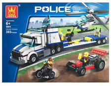 Police Helicopter Transporter Building Blocks Bricks-Wange