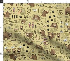 Bear Colour Bee Fish Adventure Outdoor Mountains Spoonflower Fabric by the Yard