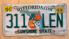"""FLORIDA PASSENGER  LICENSE PLATE """" 311 LEN """" LEONARD LENNY LENI SUNSHINE STATE"""