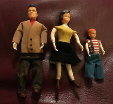 Vintage 1950's Marx Toys Rubber Bendable Dollhouse 3 pc. Family Dad Mom Boy