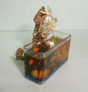 "Vintage Vicki Metzger Dollhouse Miniature Comical Cat ""Fishing"" in Aquarium 1:12"