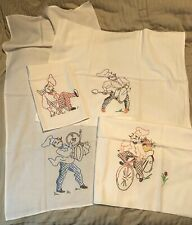 Vintage Set Of 4 Hand Drawn Needlepoint By Color Pattern Chefs On Towels NOS