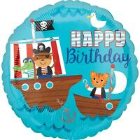 2 x Pirates 17'' Round Helium Happy Birthday Party Pirate Balloons - Twin Pack