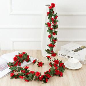 45 flowers Artificial 8Ft Silk Rose Garland Flower Hanging Garden Wedding Decor