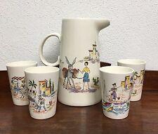 Melitta Italienreise Keramik Set 50/60er Jahre Saft Krug und 4 Becher