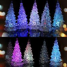 LED Crystal Color Changing Mini Christmas Tree Night Light Lamp Home Decor Kit