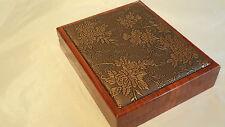 New Luxury Quality Wooden Necklace Gift Box, Velvet interior, Flower Design Top