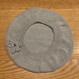 The Childrens Place Grey Beret Girls Hat Flower Rhinestone Youth Girls Size 4-7