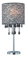 New Bedside Modern Style Black or Clear Crystal Table Lamp Craved Designs Shade