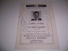 1948 AUTOGRAPHED LARRY PARKS JOAN LORRING CAMERON MITCHELL PLAYBILL- A FREE HAND