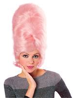1950's 60's Ladies Pink Beehive Costume Rock n Roll Panto Wig Fancy Dress New