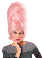 1950's 60's Ladies Pink Beehive Costume Rock n Roll Panto Wig Fancy Dress New