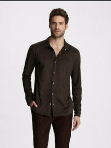 John Varvatos Snap Front SHIRT. Size Small. $328 Faux Suede