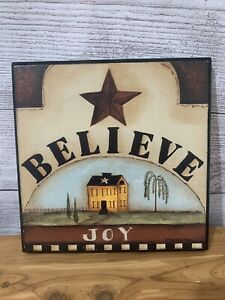 Believe Inspirational Plaques by Pat Fischer 8x8