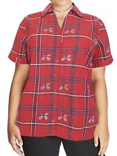 Ladies Plus Size Cotton Shirt 26/28 36 38/40 Red Butterfly Top 58