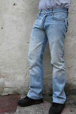 PRIMO EMPORIO JEANS MENS FADED LIGHT BLUE DENIM JEANS STRAIGHT LEG COTTON W30