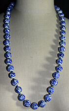 Vtg Asian Hand Knotted Blue Hand Painted Porcelain Writing Bead Necklace B