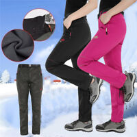 Women's Windproof Thick Fleece Pants Ski Waterproof Winter Warm Hiking Trousers