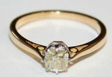Vintage 18ct Gold Cushion Shaped Old Cut Diamond Solitaire Ring 0.50cts size N.5