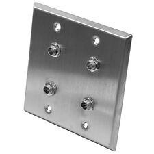 """Seismic Audio - Stainless Steel Wall Plate - 2 Gang - Four 1/4"""" TRS Stereo Jacks"""