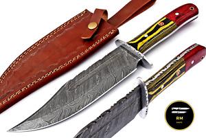 13''NEW CUSUTOM HANDMADE DAMASCUS STEEL HUNTING KNIFE FULL TANG FIXED BLADE244