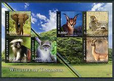 Tanzania 2015 MNH Wildlife of Tanzania 6v M/S Animals Elephants Cheetahs Stamps